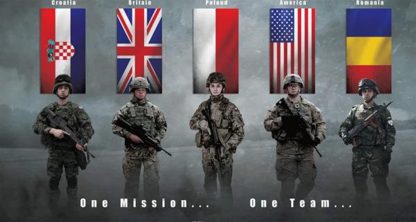 На плакате НАТО изобразили бойца с автоматом Калашникова